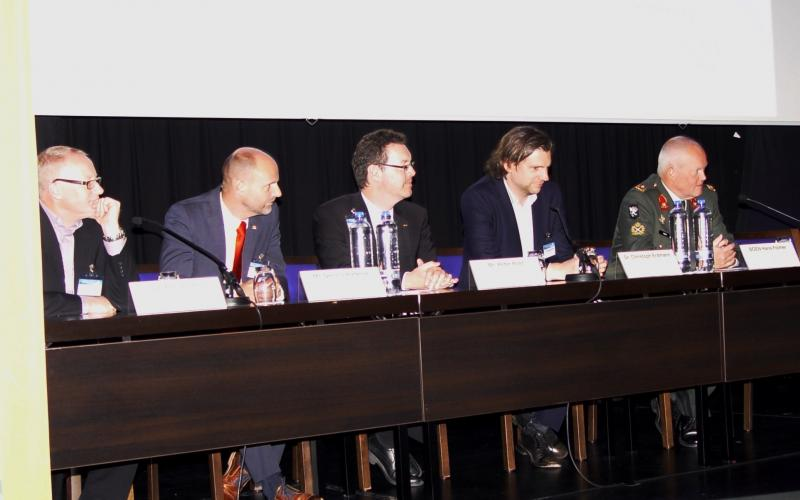 Panelists discussing cyber issues at TechNet Europe 2016 include (l-r) Dr. Phil Jones, Airbus Defense and Space; Dennis Pieterse, CGI; Peter Rost, Rohde & Schwarz Cybersecurity GmbH; Christoph Erdmann, Secusmart GmbH; and Brig. Gen. Hans Folmer, NEA, Netherlands Defense Cyber Command.