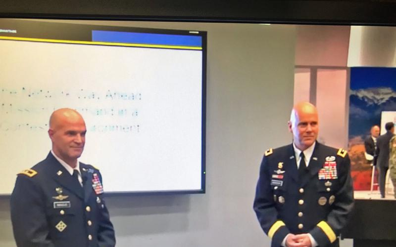 Maj. Gen. James Mingus, USA, director, Mission Command Center of Excellence (l), and Maj. Gen. John Morrison, USA, commanding general, Army Cyber Center of Excellence, outline the Army's plan for a new network at AUSA's Annual Meeting in Washington, D.C.