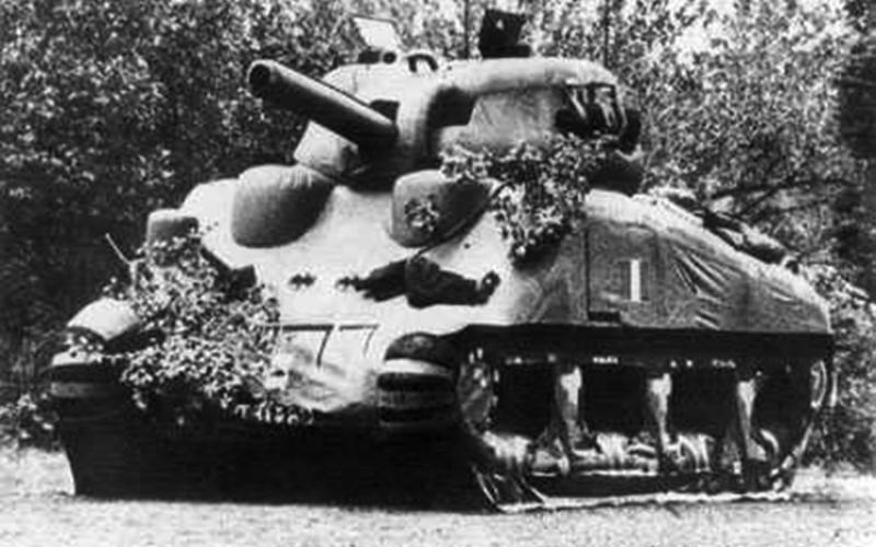 During World War II, both the Allied and Axis militaries used inflatable tanks to fool their enemies. In some cases, the dummy tanks were left behind after forces moved out as a protective measure.