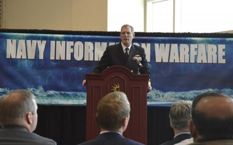 Rear Adm. Matthew J. Kohler, USN, commander, Naval Information Forces, explains the role of the NIWDC during the 2017 Sea-Air-Space Expo in Maryland. The commander was promoted to vice admiral in July 2017.