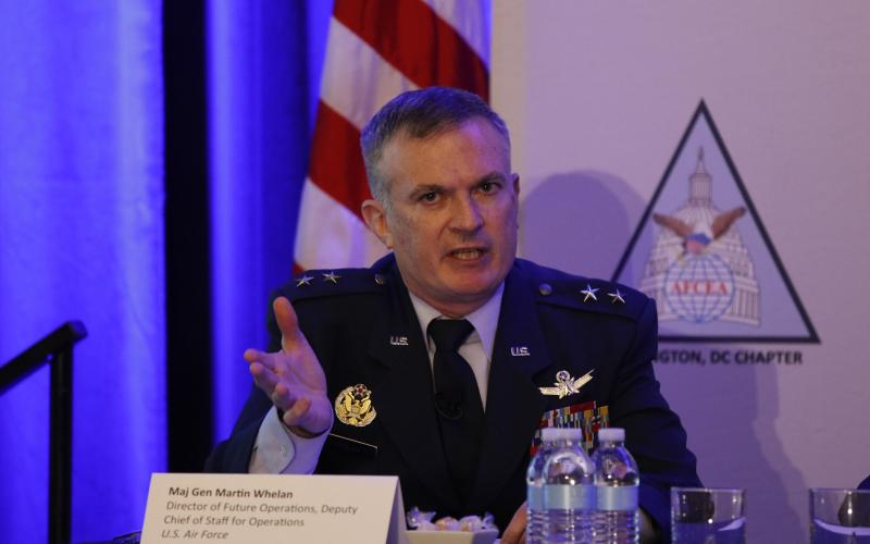 "Maj. Gen. Martin Whelan, USAF, the Air Force director of future operations and deputy chief of staff for operations, says the U.S. military is ""wedged between modernization and readiness"" in the fight for competing dollars to fund requirements. Photo by Mike Carpenter"