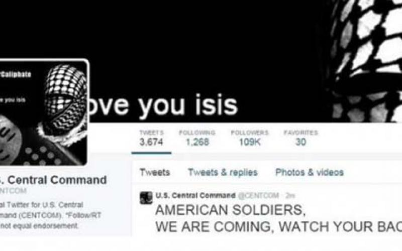 Screen shot of CENTCOM's Twitter page, which had been hacked January 12, 2015.