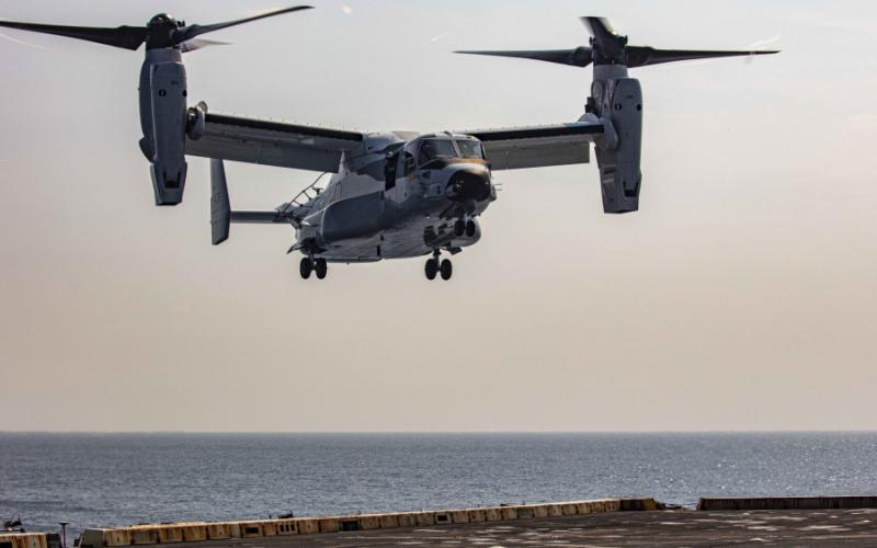 The Navy is at the early stages of exploring open architecture solutions for its other major aircraft platforms, including the CMV-22 Osprey (pictured) and the F-35 Joint Strike Fighter. In July 2020, a CMV-22B Osprey, attached to the Blackjacks of Air Test and Evaluation Squadron Two One (HX-21), lands on the flight deck aboard the amphibious transport dock ship USS New York in the Atlantic Ocean.  U.S. Navy photo by Mass Communication Specialist 2nd Class Lyle Wilkie