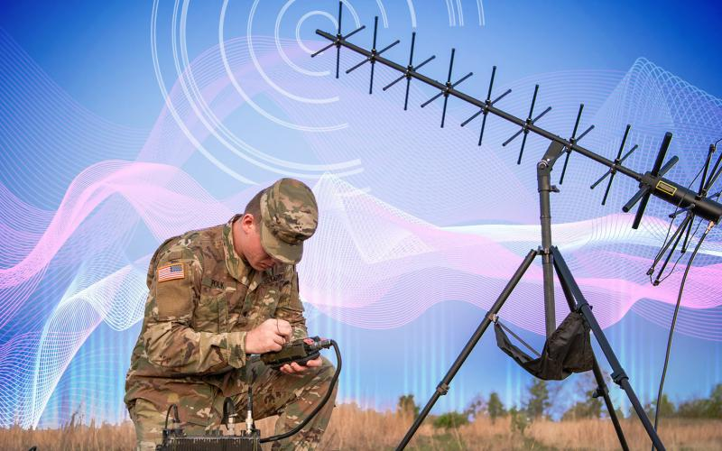 A signal support system specialist prepares a radio system used to allow soldiers and airmen to keep in constant communications with one another during their missions. Graphic illustration by Regina Ali, U.S. Defense Department