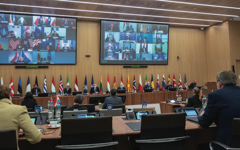 The NATO Ministers of Defence meet in February to prepare for its summit later this year. Among the topics socially distanced attendees discussed were progress on burden sharing and missions in Afghanistan and Iraq. Credit: NATO