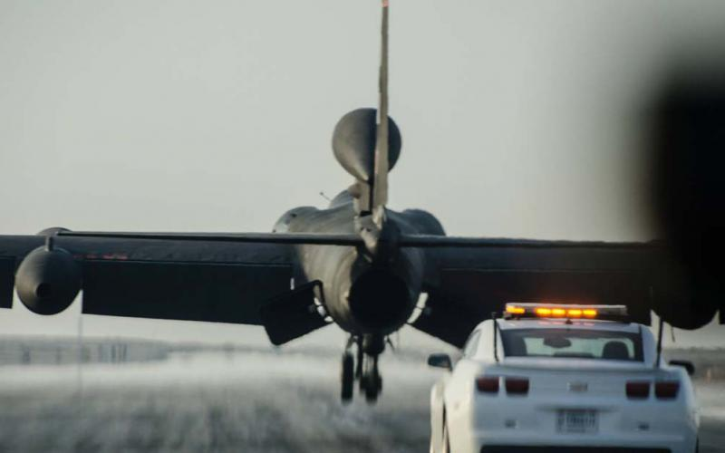 A U.S. Air Force U-2 lands at Al Dhafra Air Base in the United Arab Emirates. The Air Force is developing a new intelligence, surveillance and reconnaissance (ISR) strategy that focuses on data instead of collection platforms.