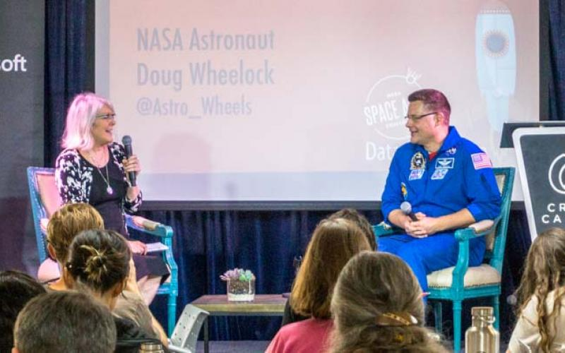 Beth Beck, l, the open innovation program manager in NASA's Office of the Chief Information, discusses the agency's Space Apps Challenge 2016, a global hackathon.