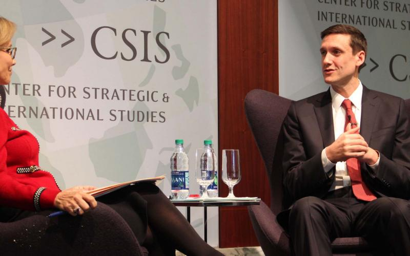 White House homeland security adviser Thomas Bossert has a discussion on the White House's cybersecurity plans with his former boss, Frances Townsend, during a CSIS event. Photo courtesy CSIS