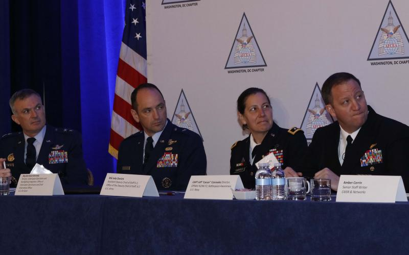 "U.S. Air Force, Army and Navy leaders address C4ISR capability gaps and needs during an AFCEA DC Chapter breakfast. From l-r, Maj. Gen. Martin Whelan, USAF; Brig. Gen. Kevin Kennedy, USAF; Maj. Gen. Jody Daniels, USA; and Capt. Jeff ""Caesar"" Czerewko, USN. Photo by Mike Carpenter"