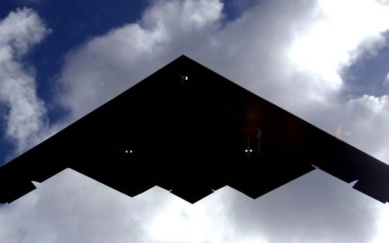 A B-2 Spirit lands at Andersen Air Force Base, Guam. The B-2 Defense Management System Modernization program includes upgrades to electronic warfare systems.