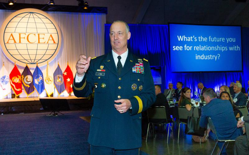 Lt. Gen. Alan Lynn, USA, director of DISA and commander of the JFHQ-DODIN, speaks at AFCEA's Defensive Cyber Operations Symposium in June. Photo by Mike Carpenter