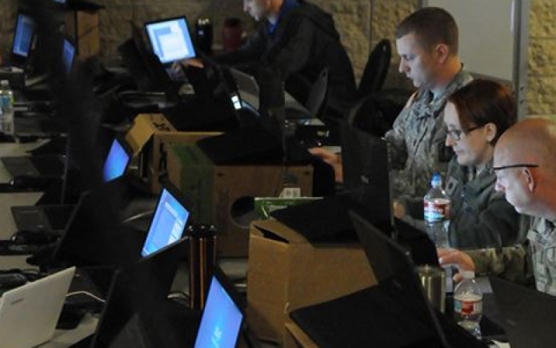 Members of the Army National Guard, Air National Guard, Army Reserve and civilian agencies prepare to engage in cyber attacks as part of the recent Cyber Shield 17 exercise at Camp Williams, Utah. The cyberthreat's borderless nature is bringing together experts from several nations at this year's Department of Defense Intelligence Information System (DoDIIS) Worldwide Conference in St. Louis.