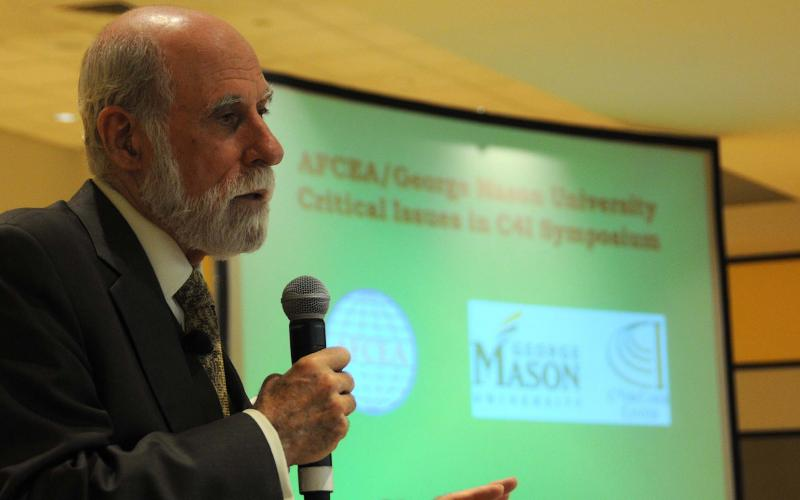 "Vint Cerf, touted as one of the ""fathers of the Internet"" and now vice president and chief Internet evangelist for Google, speaks at AFCEA International/George Mason University Critical Issues in C4I Symposium."
