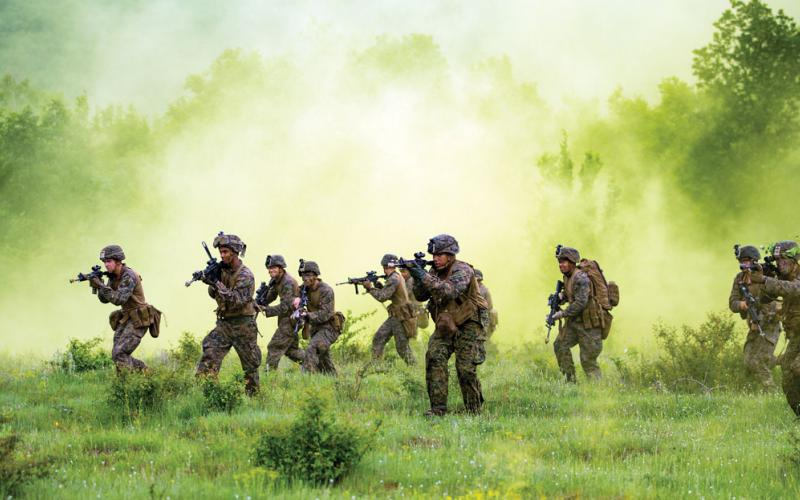 U.S. Marines with Black Sea Rotational Force 18.1 conduct a patrolling exercise in May at the U.S. Army's Novo Selo Forward Operating Site in Bulgaria. RadioMap technology, developed by the Defense Advanced Research Projects Agency (DARPA) and transitioning to the Marine Corps, will offer radio-frequency situational awareness to such warfighters on the move. Photo by Lance Cpl. Angel Travis, USMC.