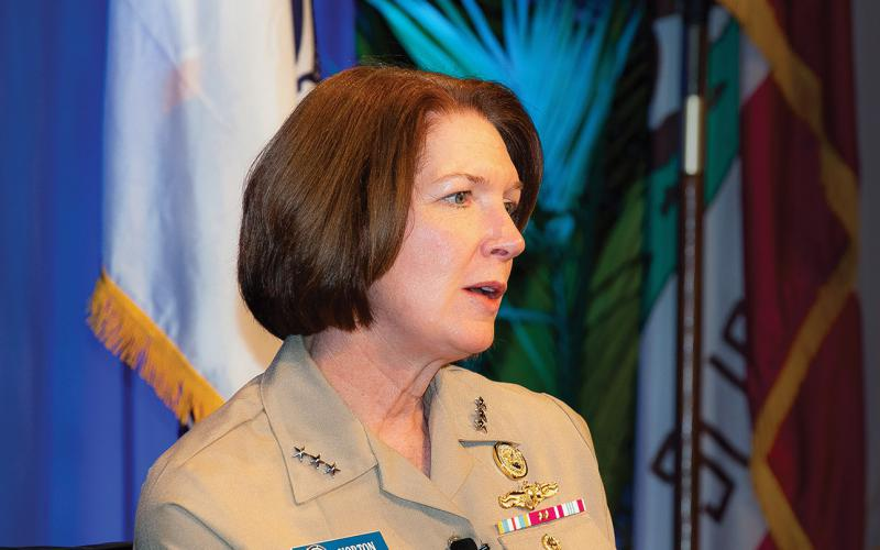Vice Adm. Nancy Norton, USN, director, DISA, and commander, Joint Force Headquarters–Department of Defense Information Network, speaks at West. Photo by Michael Carpenter