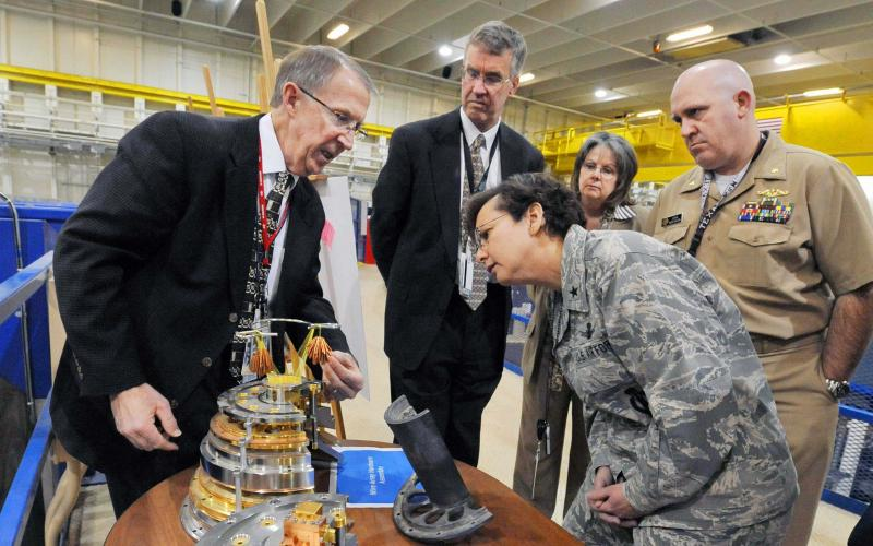 Then-Brig. Gen. Sandra Finan, USAF, at Sandia National Laboratories in 2011.