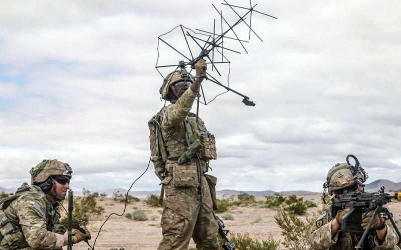 Soldiers assigned to 1st Stryker Brigade Combat Team use satellite communication systems at the National Training Center, Fort Irwin, California, in March. Next summer, the Army intends to take its premier command, control, communications, cyber, intelligence, surveillance and reconnaissance experiment to the Indo-Pacific theater. It will mark the service's first full-sized technology development experiment in a combat theater. Credit: U.S. Army/Pfc. Rosio Najera