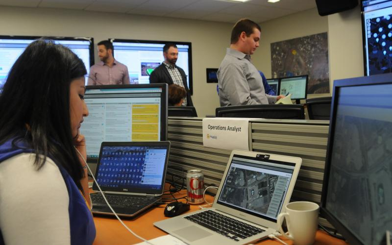 Nazia Naeem, Haystax's operations lead for the analyst team, uses a predictive analytics tool for situational awareness.
