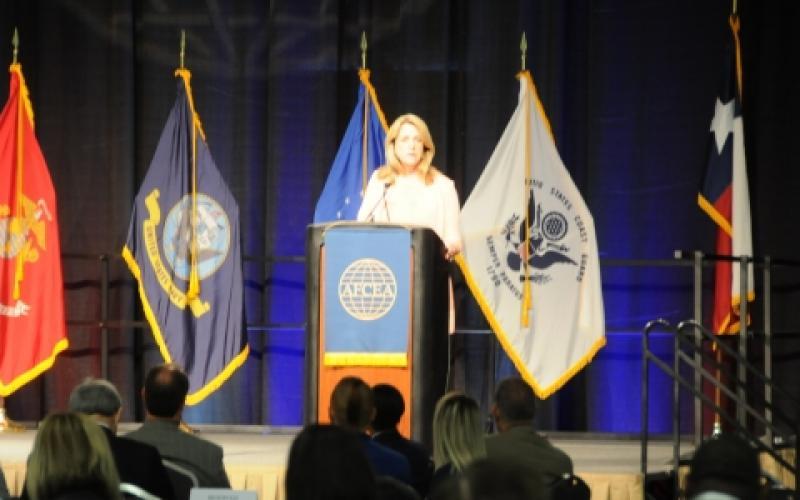 Deborah Lee James, secretary of the U.S. Air Force, addresses the inaugural AFCEA International's three-day TechNet Air 2016 symposium in San Antonio.