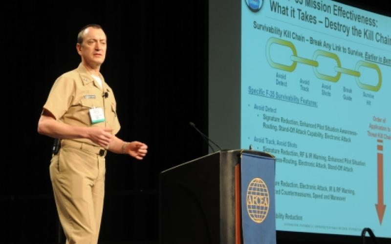 Rear Adm. Randy Mahr, USN, deputy program director at the F-35 Lightning II Joint Program Office speaks about the Defense Department's costliest program during AFCEA's TechNet Air 2016 symposium.