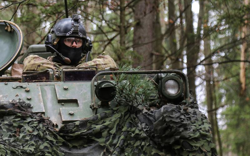 A soldier with the 1st Infantry Division provides security during exercise Allied Spirit VII in Hohenfels, Germany. In the future, the trees surrounding the soldier may be used as networked sensors if work underway at the Army Research Laboratory (ARL) bears fruit.