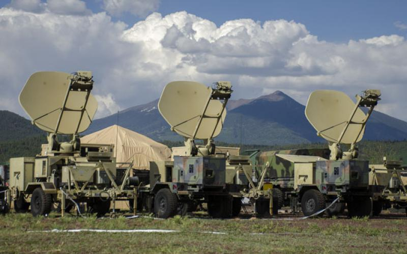 Army satellite transportable terminals establish links with orbiters to provide communications support to ground forces. The Army faces a pressing need for better antijam satellite communications amid an increasingly hostile electromagnetic environment.