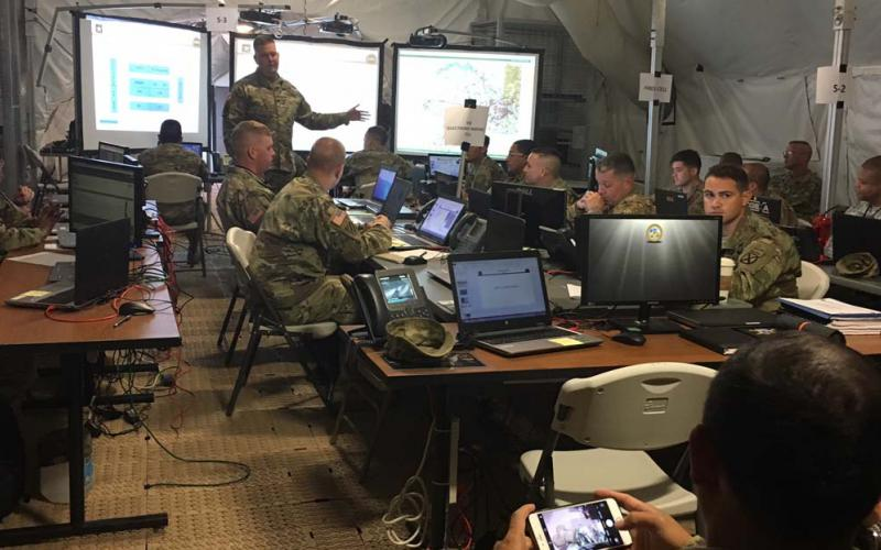 Units participating in Cyber Quest 2017 execute their battle drills. The U.S. Army's Cyber Battle Lab uses Cyber Quest exercises as one of several means to experiment with approaches to cyber challenges.