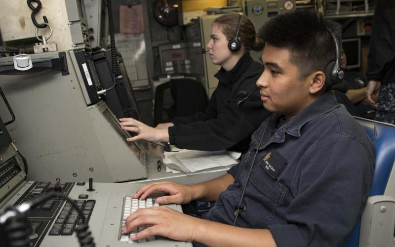 Students in the Joint Cyber Analysis Course work together at Information Warfare Training Command Corry Station in Pensacola, Florida. As the U.S. Navy increasingly partners with the other services on cyber operations, it also is dealing with the type of advanced threats facing the cyber realm at large.