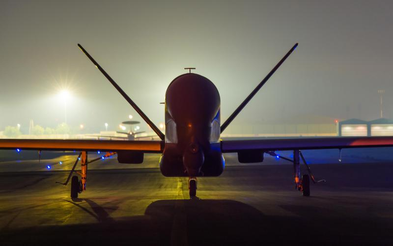 An EQ-4 Global Hawk equipped with a battlefield airborne communications node, which has been used to link multinational coalition ground and airborne assets, prepares to depart on a mission in Southwest Asia. The Defense Information Systems Agency (DISA) is counting on innovation to further its networking activities, particularly among coalition partners.