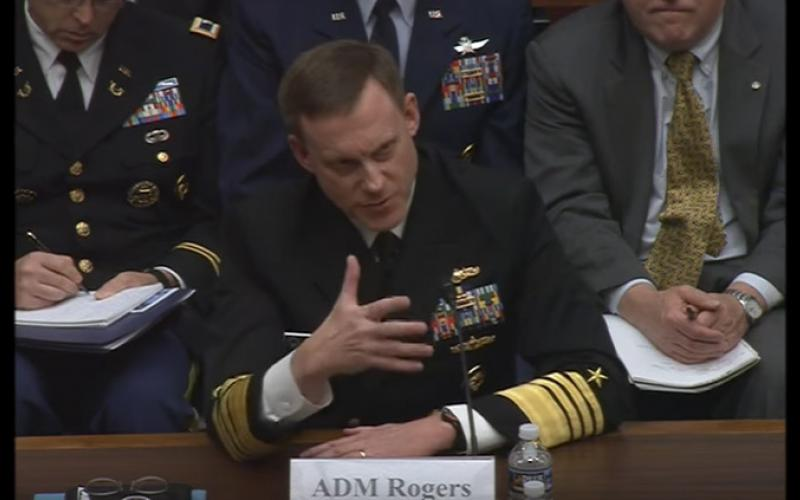 Adm. Michael Rogers, USN, makes a budget pitch before Congress on May 24, asking for 16 percent more in fiscal year 2018 than in 2017 for U.S. Cyber Command.