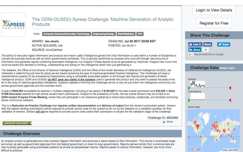 The home page of the ODNI's Xpress challenge serves both as an information resource about the competition and a portal for potential entrants. Organizations are able to register to compete right up to the end of the contest on July 5.