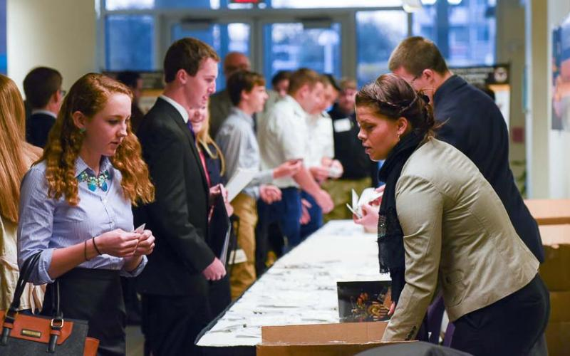 Students check in for the one-day West Point Leadership and Ethics Conference 2016, held in March at George Mason University's Arlington, Virginia, campus.