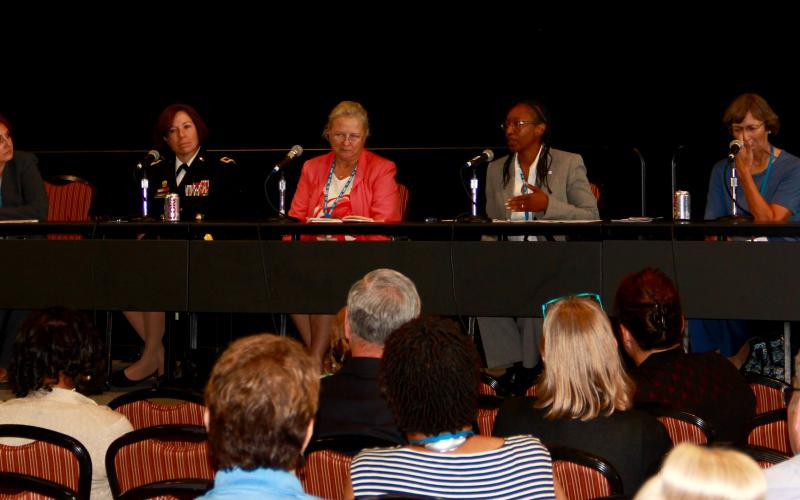 The first Women in STEM panel held this week at AFCEA's TechNet Augusta address issues that keep women from pursing and staying in STEM fields. Photo by Wayland Linwood.