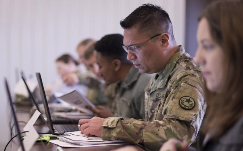 Sgt. Michael Russel, TXAG, analyzes network traffic during Cyber Shield 19. The exercise provides participants with training on industry network infrastructure and cyber protection best practices. Credit: Staff Sgt. George Davis, OHNG