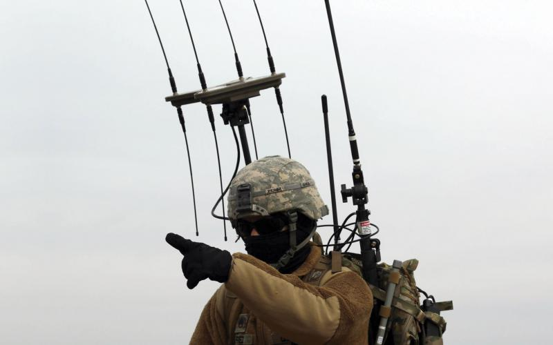 Staff Sgt. Kristoffer Perez, USA, Cyber Electromagnetic Activities section, 1st Armored Brigade Combat Team, 1st Infantry Division, carries a dismounted electronic warfare kit that allows him to work in concert with the rest of his section. To get inside an enemy's OODA loop, commanders will need a way to see how electronic warfare is affecting the battlespace. Photo by Sgt. Michael C. Roach, 19th Public Affairs Detachment