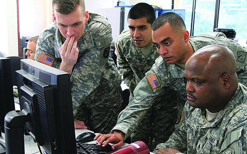Virginia National Guard soldiers from the Fairfax-based Data Processing Unit respond to a simulated cyber attack during a cyberdefense exercise.