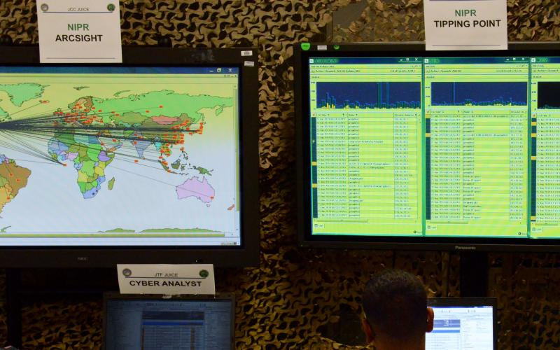 A cyber Joint Users Interoperability Communications Exercise, or JUICE, takes place at Aberdeen Proving Ground, Maryland.