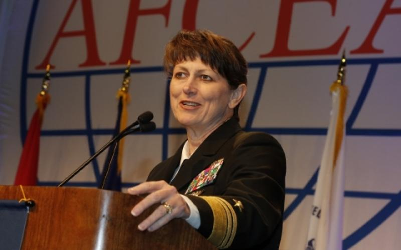Vice Adm. Jan E. Tighe, USN, commander, Fleet Cyber Command and 10th Fleet, reviews cyberthreats during the AFCEA 2016 AFCEA Defensive Cyber Operations Symposium.