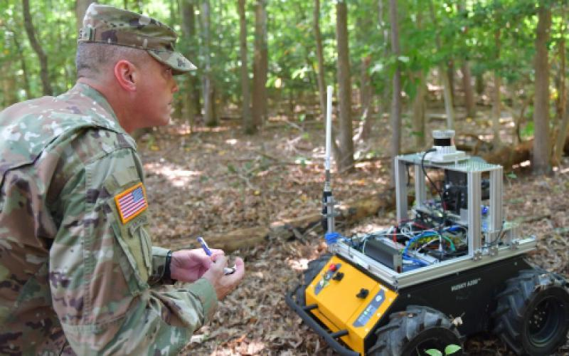 Roboticists at the Army Research Lab are pulling together components for robots to be able to take verbal instruction from soldiers and then complete a series of complex tasks. Here, the robot acts as a forward observer, detects a possible enemy position and relays the information to the soldier, who plans their next move.  CCDC ARL