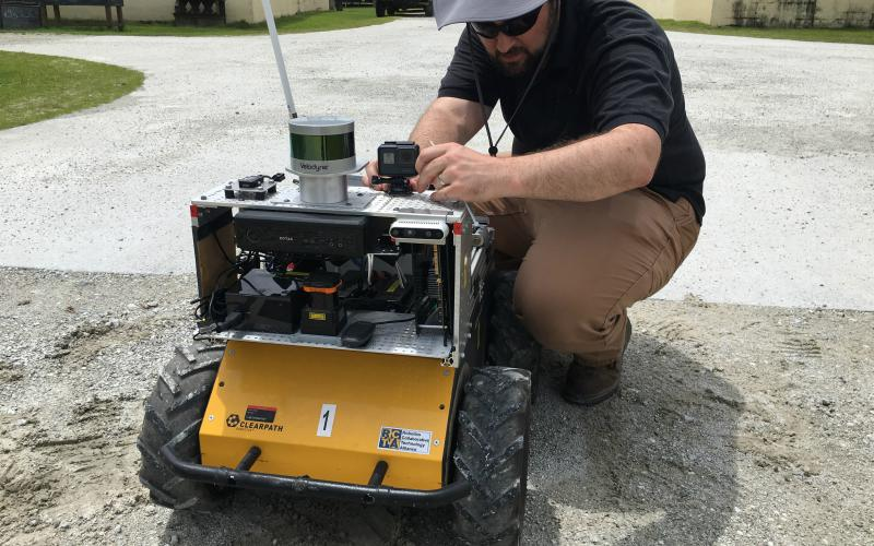 The Marine Corps' Camp Lejeune base in Jacksonville, North Carolina, and its military operations in urban terrain facility, or MOUT, provides an ideal setting for Army Research Lab Robotocist John Rogers to test robot-human interaction.  CCDC ARL