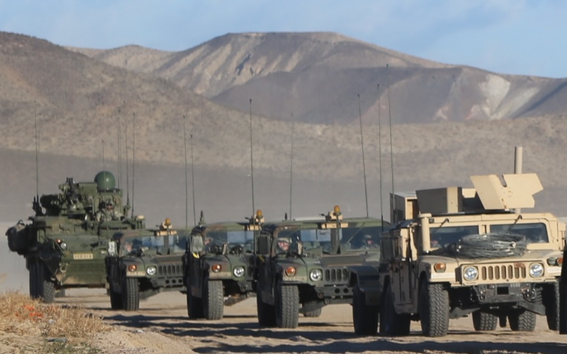 A Stryker vehicle equipped with the Warfighter Information Network-Tactical Increment 2 brings up the rear of the convoy at California's National Training Center. DISA officials plan to scale down network management tools to one single tool, or a single suite, by 2021.