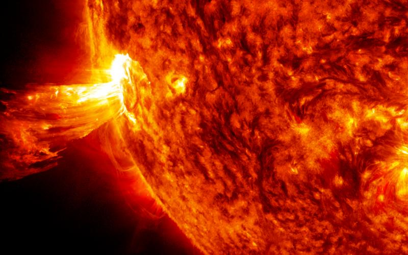 On June 20, 2013, NASA's Solar Dynamics Observatory spacecraft captured this coronal mass ejection, a solar phenomenon that can send billions of tons of particles into space that can reach Earth in days. Credit NASA.