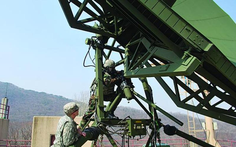U.S. Army personnel work on a communications antenna in Korea. The 1st Signal Brigade is upgrading its communications infrastructure concurrent with a force transformation amid the continued threat of hostilities from North Korea.