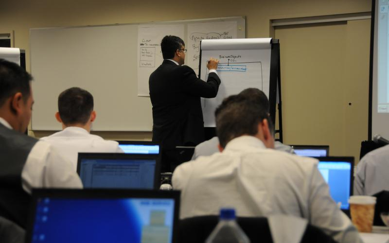 "Instructor Khalid Jamali weaves lessons on soft skills such as public speaking, resume writing and interviewing skills throughout the training for SAP National Security Services certification. ""I want them to get a job."""