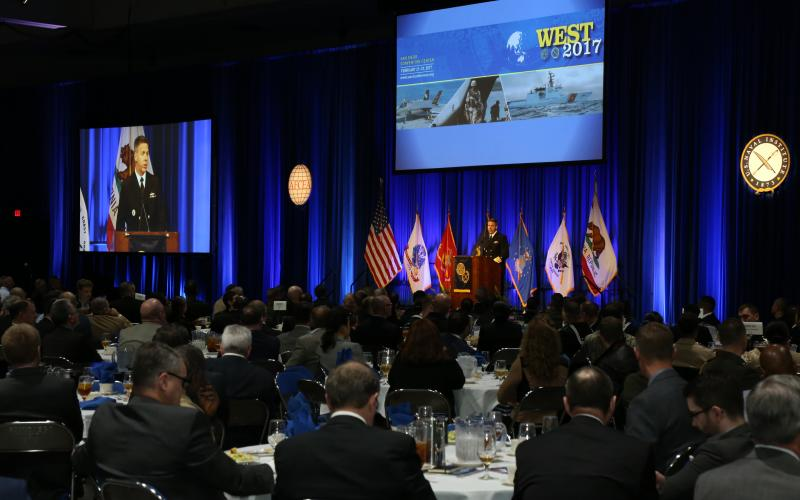 Adm. Philip Davidson, USN, commander of U.S. Fleet Forces Command, delivers a keynote at day two of the West 2017 conference in San Diego. Photo by Mike Carpenter