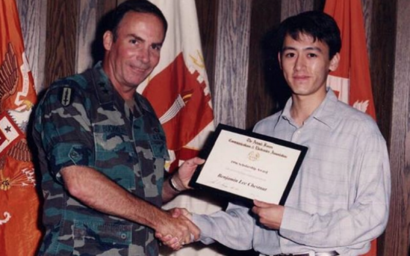 In 1996, Ben Chestnut (r), now CEO of Mailchimp, receives an AFCEA scholarship. He has started a new AFCEA scholarship in his father's name with a $100,000 endowment to the Augusta-Ft. Gordon Chapter.