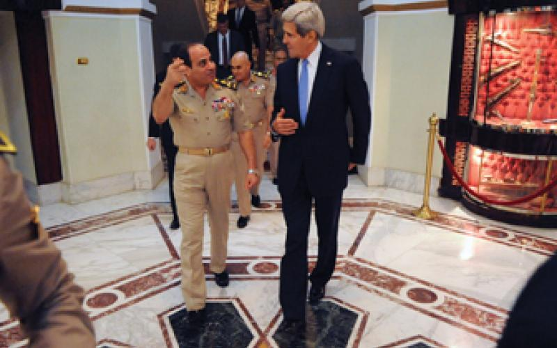 U.S. Secretary of State John Kerry met with then-Egyptian Minister of Defense General Abdul Fatah Khalil al-Sisi in Cairo last November. Sisi is now the president of Egypt, marking the third government in as many years in a country with an uncertain relationship with the United States.
