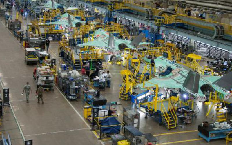 The F-35, shown here in April 2017 on the production line at Lockheed Martin's Fort Worth, Texas, facility, was conceived as a joint project, the result of interservice collaboration, and continues to integrate some of the world's most advanced avionics technologies.  Photo by Alexander H. Groves, provided courtesy of Lockheed Martin