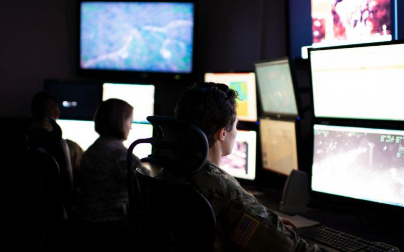 Intelligence analysts train at an Indiana National Guard Base. The use of artificial intelligence will change the role of analysts in several ways as it becomes more widespread throughout the intelligence community. U.S. Air National Guard photo