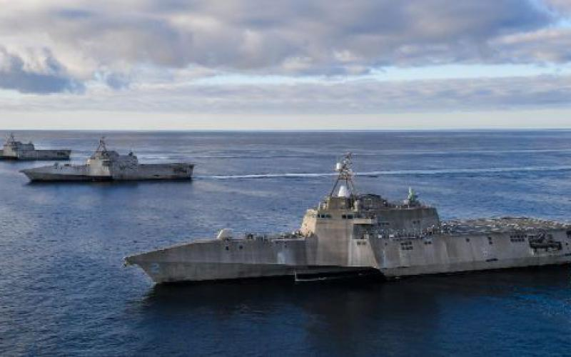 The USS Independence, USS Manchester and USS Tulsa move in formation in the eastern Pacific. These ships can operate within a network of surface combatants, which will be essential for the Navy to integrate capabilities and establish a kill web against adversaries.  U.S. Navy photo